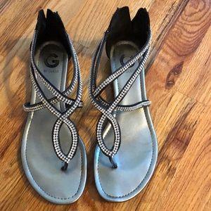 Rhinestone Black Sandals
